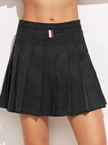 Black Zip Pleated A-Line Skirt With Button Detail