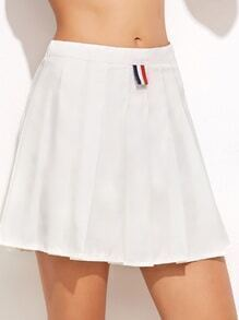 White Zip Pleated A-Line Skirt With Button Detail