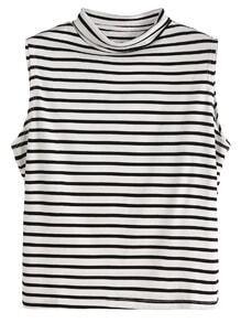 Black And White Striped Sleeveless Mock Neck Top