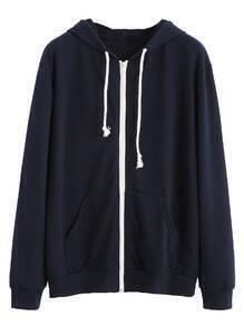 Navy Contrast Zip Drawstring Hooded Pocket Sweatshirt
