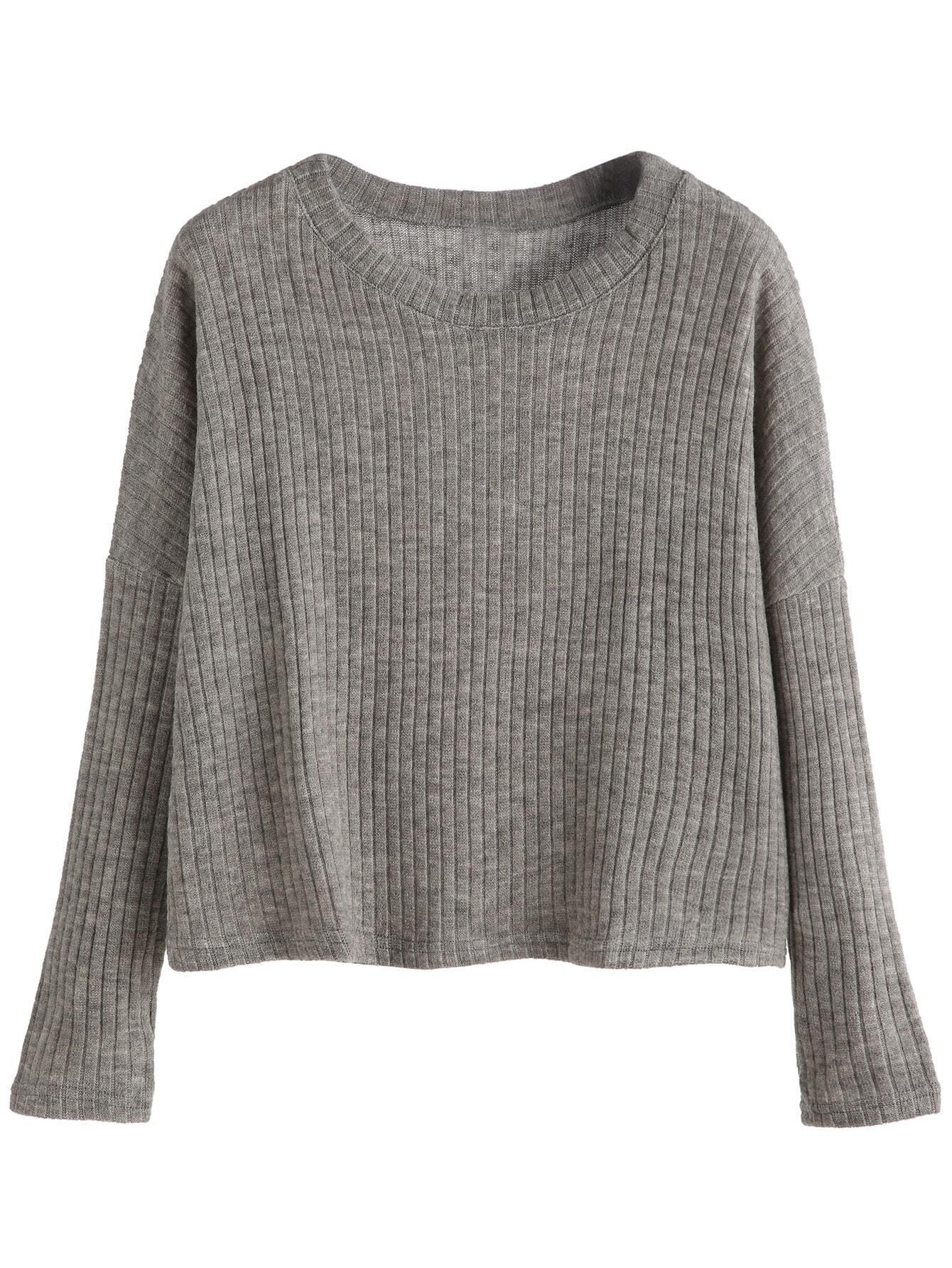 Grey Dropped Shoulder Seam Ribbed Sweater RKNI160909103