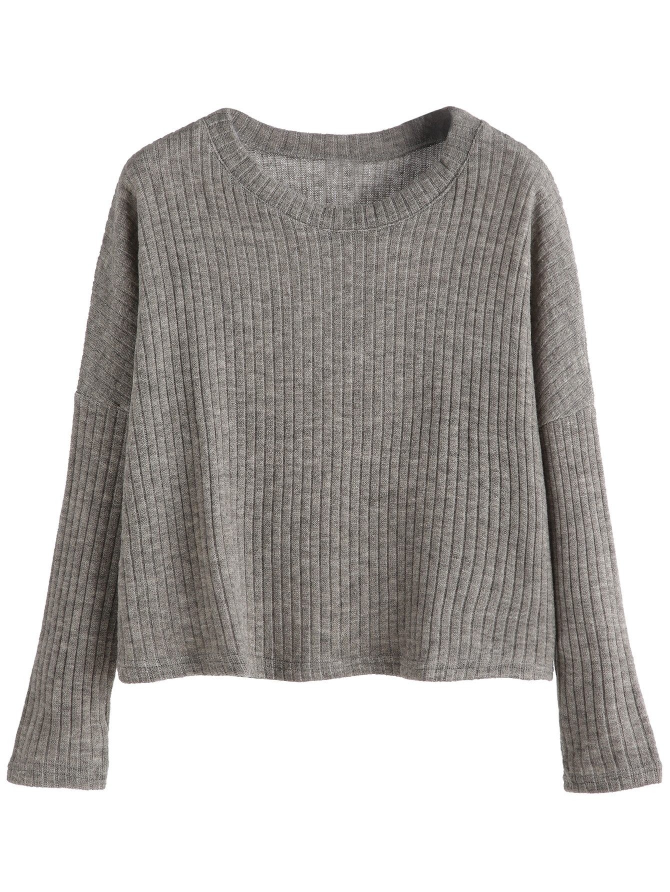 Grey Dropped Shoulder Seam Ribbed Sweater