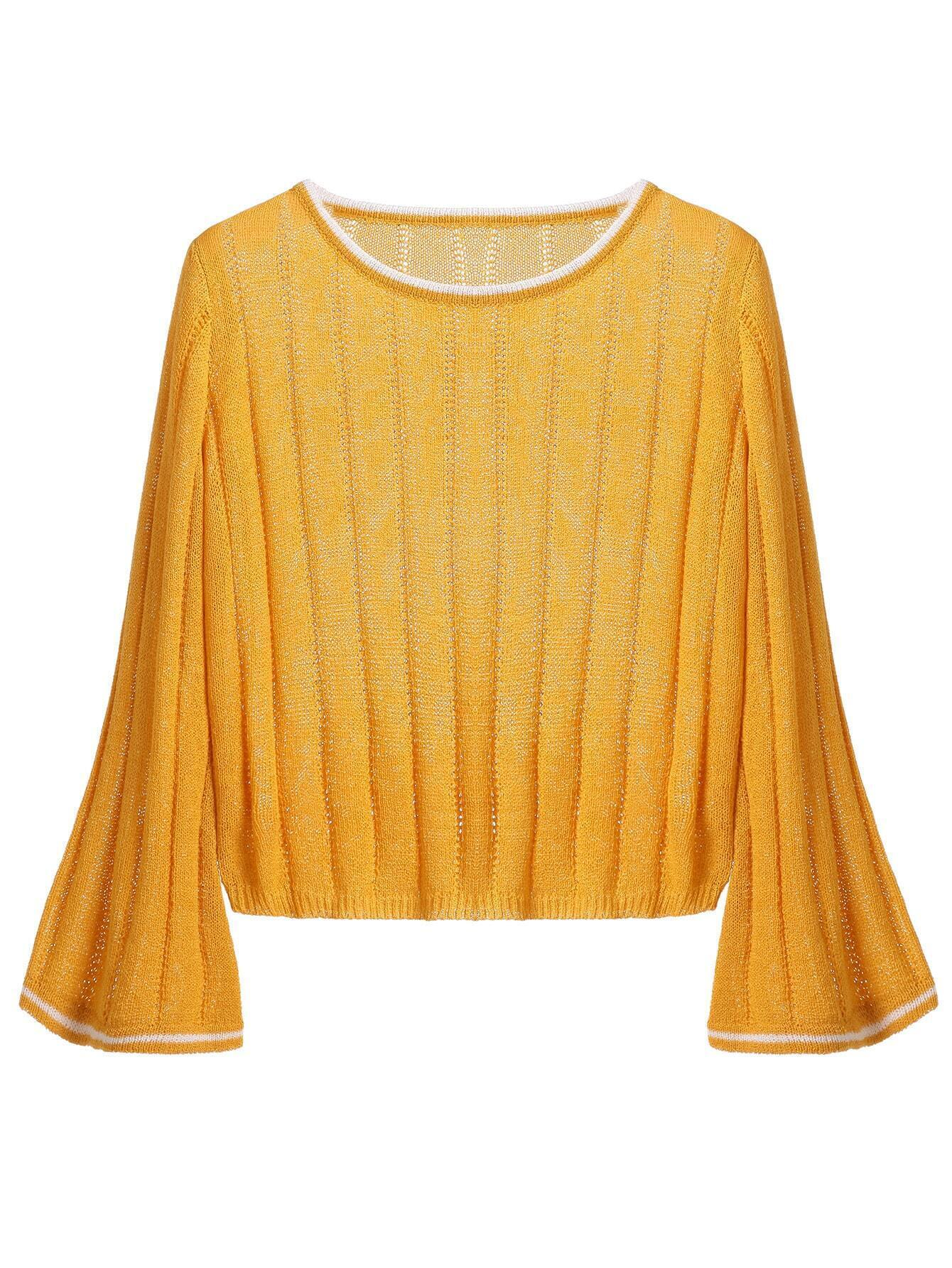 Ginger Contrast Trim Ribbed Crop Sweater RKNI160909001