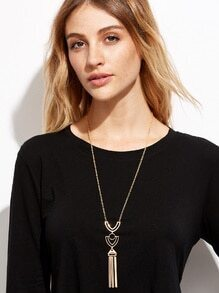 Gold Plated Geometric Hollow Out Pendant Necklace