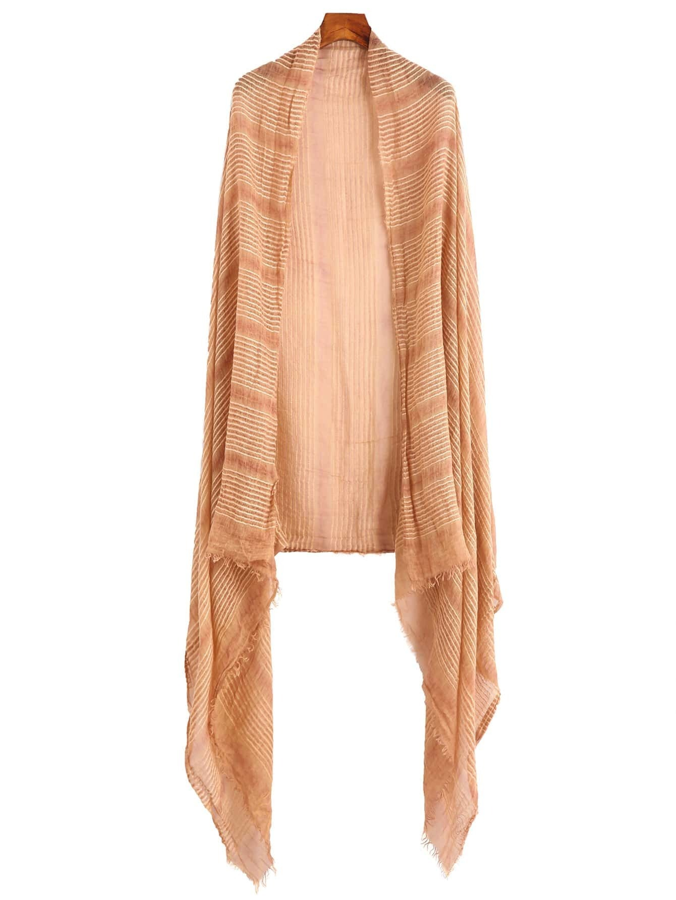 Apricot Raw Edge Stripe Scarf