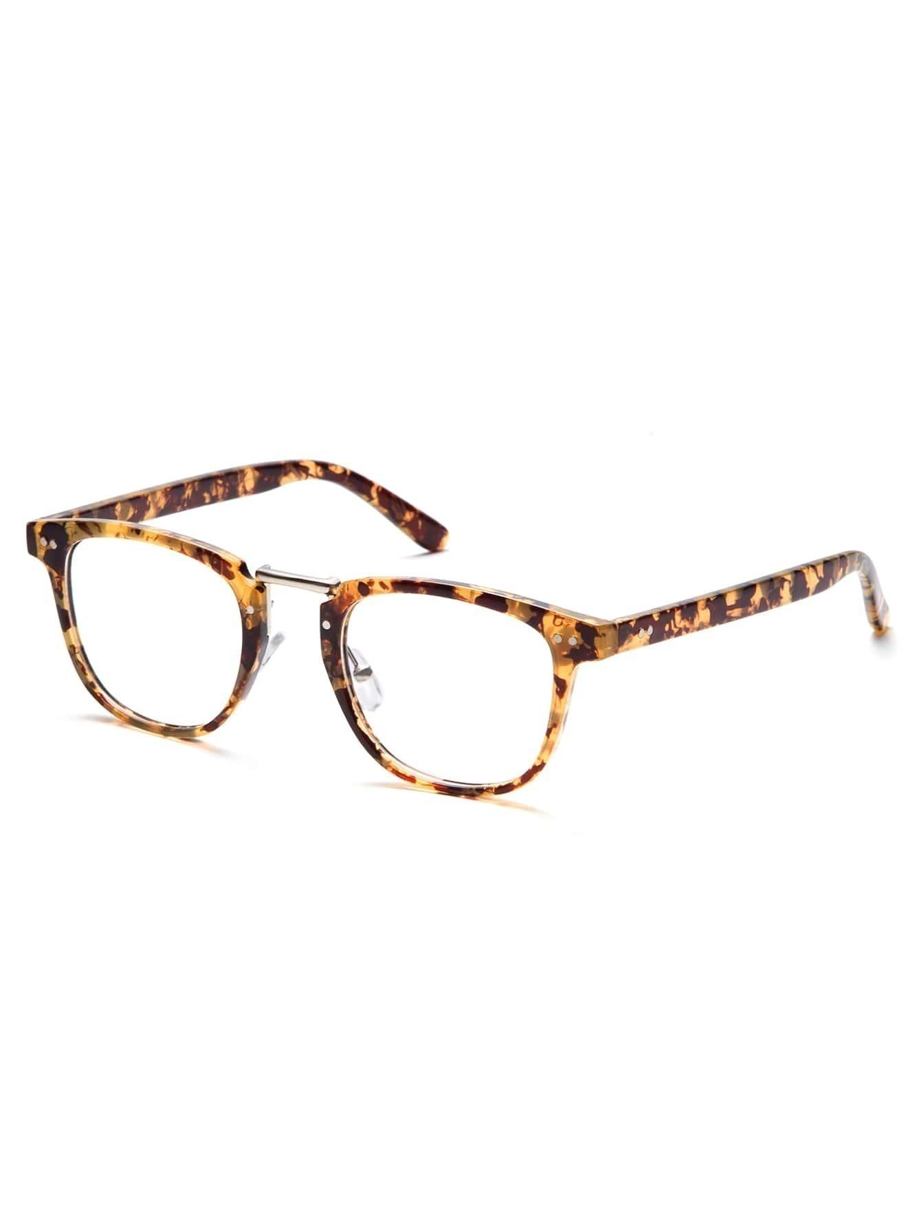 brown tortoise frame clear lens glasses