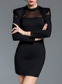 Black Crew Neck Sheer Combo Sheath Dress