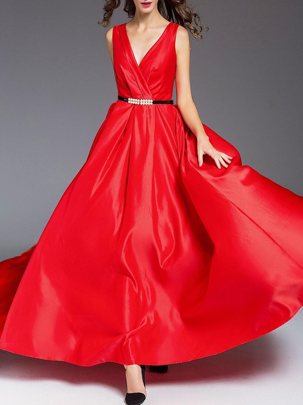 Robe longue col v dos nu avec ceinture rouge french romwe for Interieur paupiere inferieure rouge