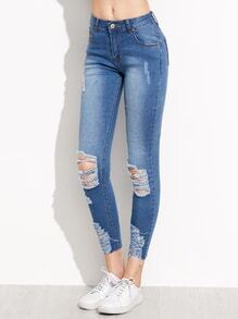Dünne Knöchel Jeans mit zerrissem -blau