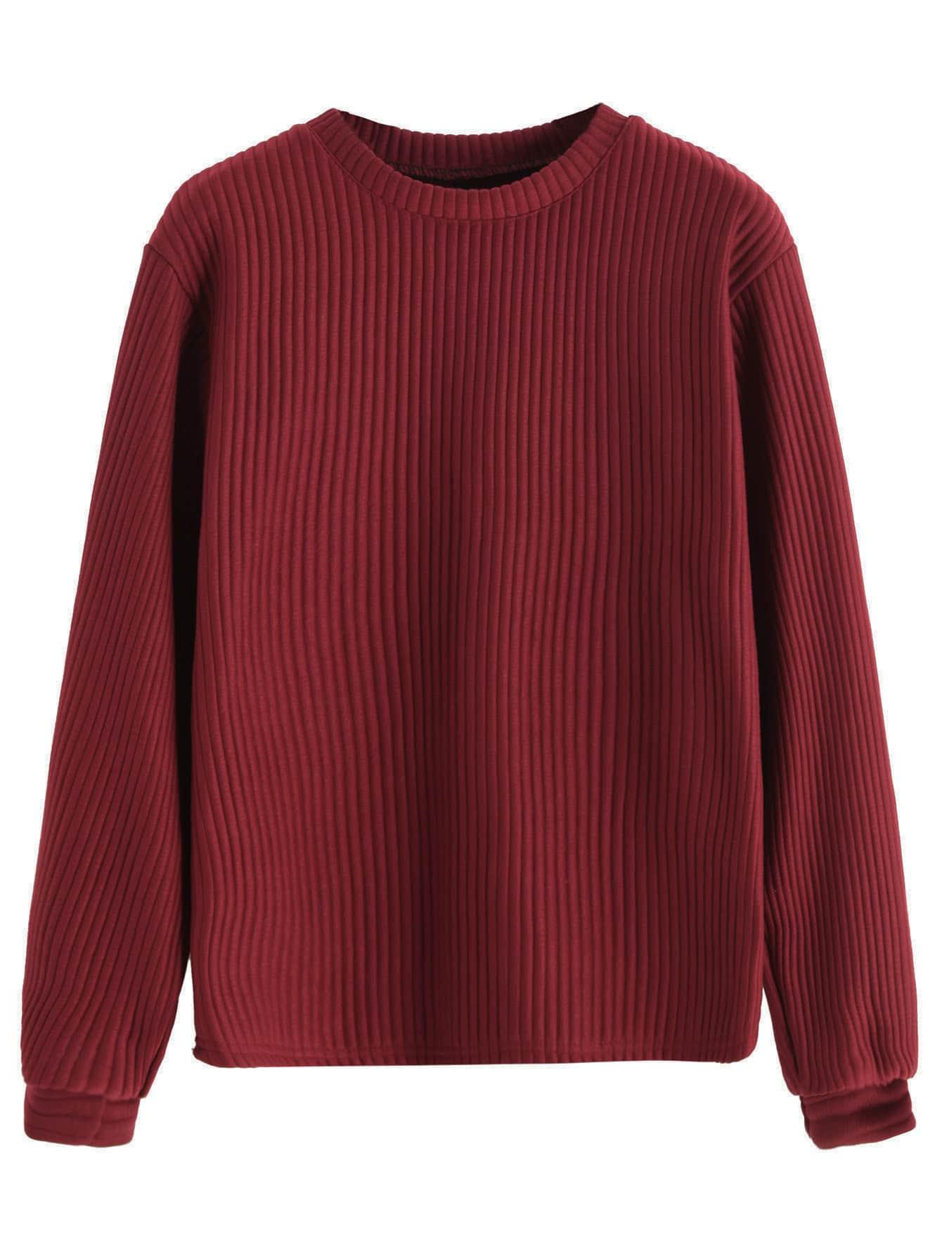 Burgundy Long Sleeve Ribbed Sweatshirt