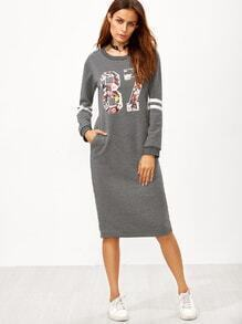 Robe sweat-shirt imprimé avec zip - gris
