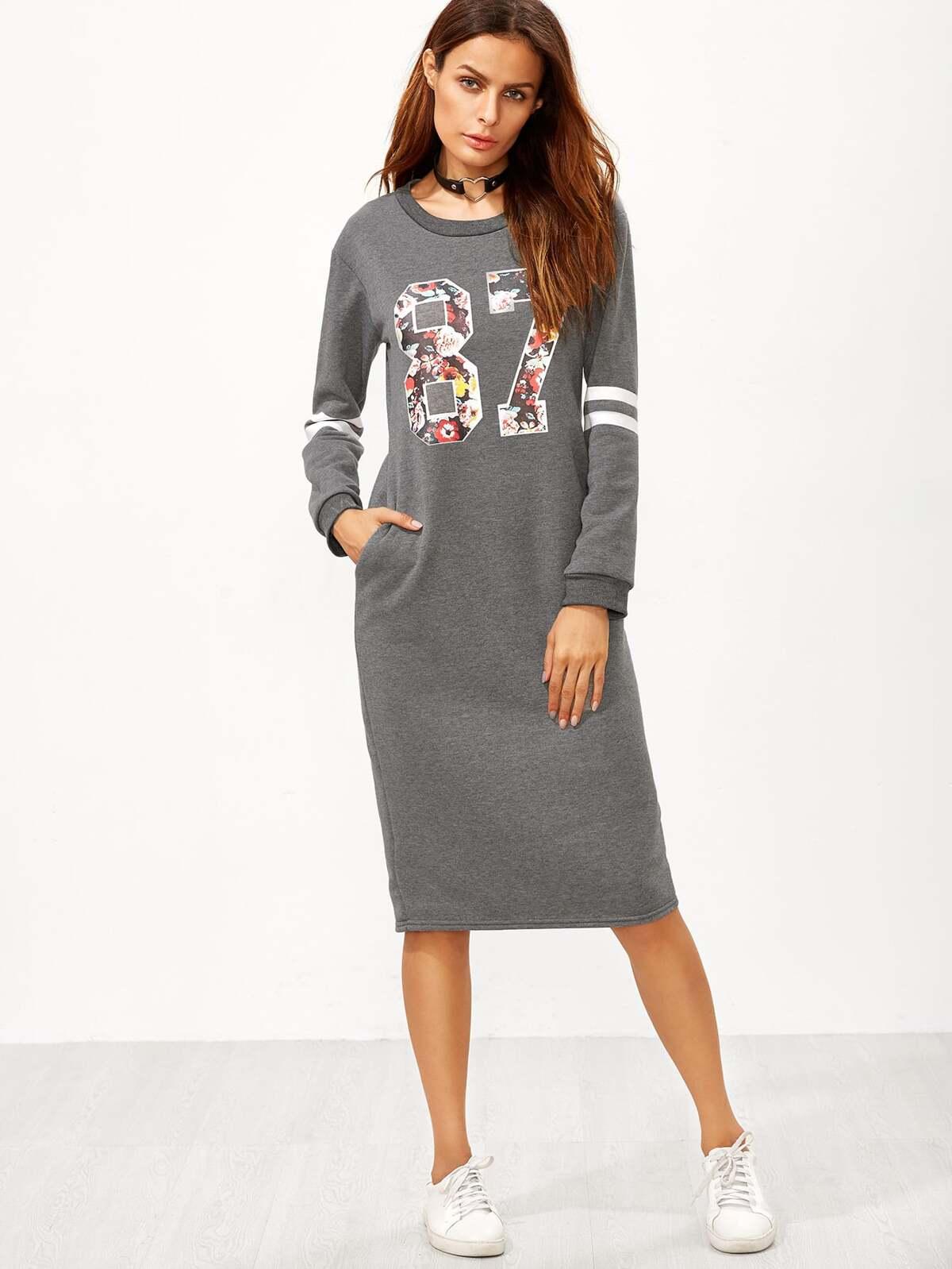 灰色 大學代表隊 圖片 開叉 背 拉鏈 T恤衫 洋裝