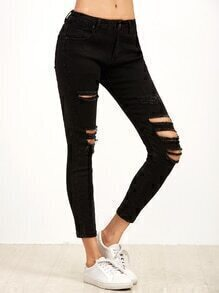 Black Ripped Skinny Ankle Jeans