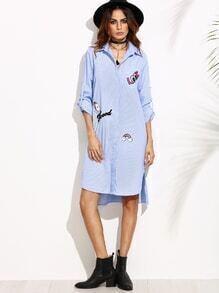 Blue Striped Hidden Button Shirt Dress With Lovely Patch