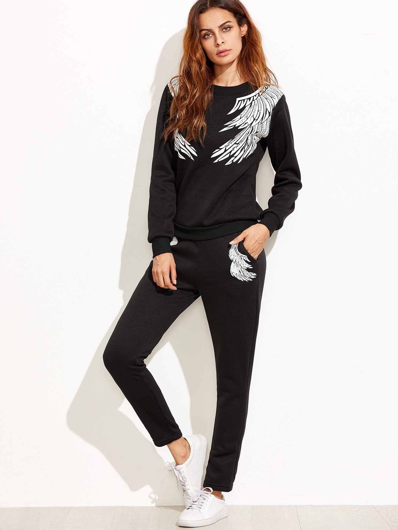 Black Angel Wings Print Sweatshirt With Pants