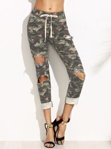 Olive Green Camo Print Ripped Drawstring Pants