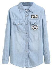 Camisa de denim con parche bordado - azul