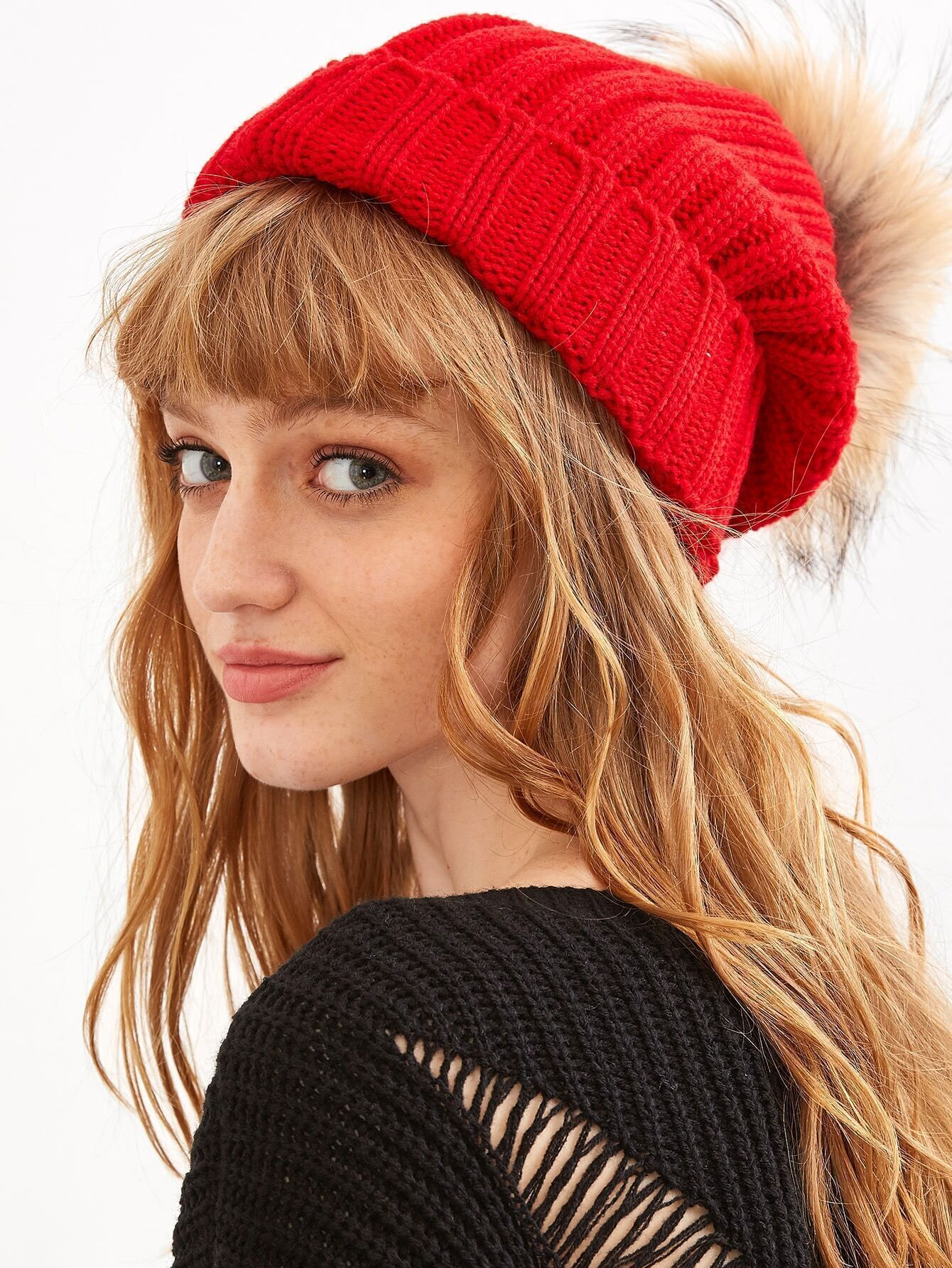 Red Detachable Fur Pom Ribbed Knit Beanie hat160910301