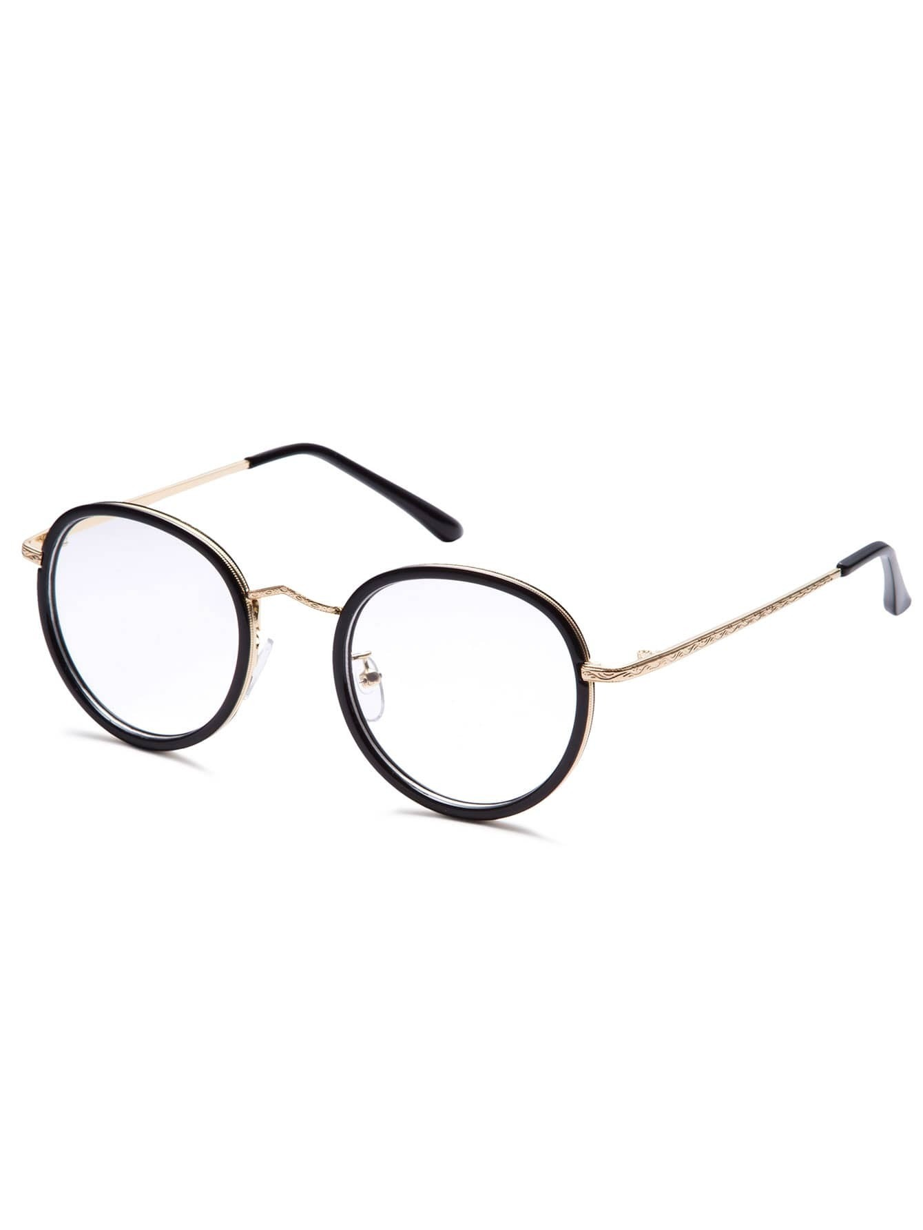 Wire Frame Glasses Vs Plastic : Black Plastic Frame Metal Arm Round Glasses