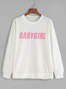 Sweat-shirt imprimé lettres - blanc
