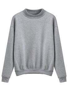 Heather Grey Mock Neck Drop Shoulder Sweatshirt