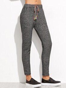 Grey Drawstring Waist Pockets Pants
