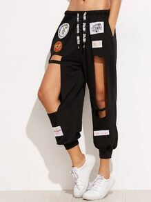Black Embroidered Patches Cut Out Drawstring Pants