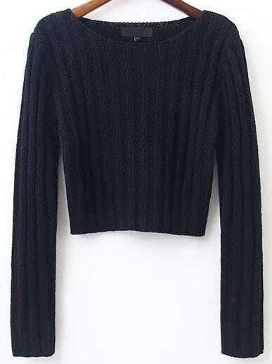 Black Ribbed Round Neck Crop Sweater