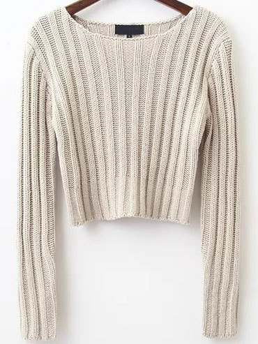 Apricot Ribbed Round Neck Crop Sweater sweater160912202