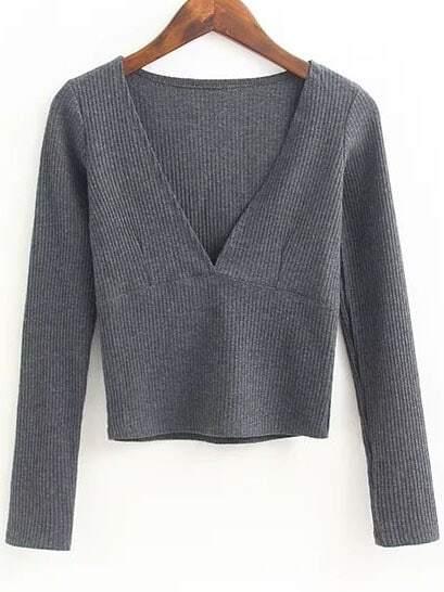 Grey Deep V Neck Crop Knitwear sweater160912210