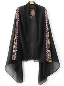 Black Flower Embroidery Vintage Scarf