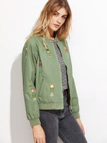 Green Cat Embroidery Raglan Sleeve Zipper Jacket