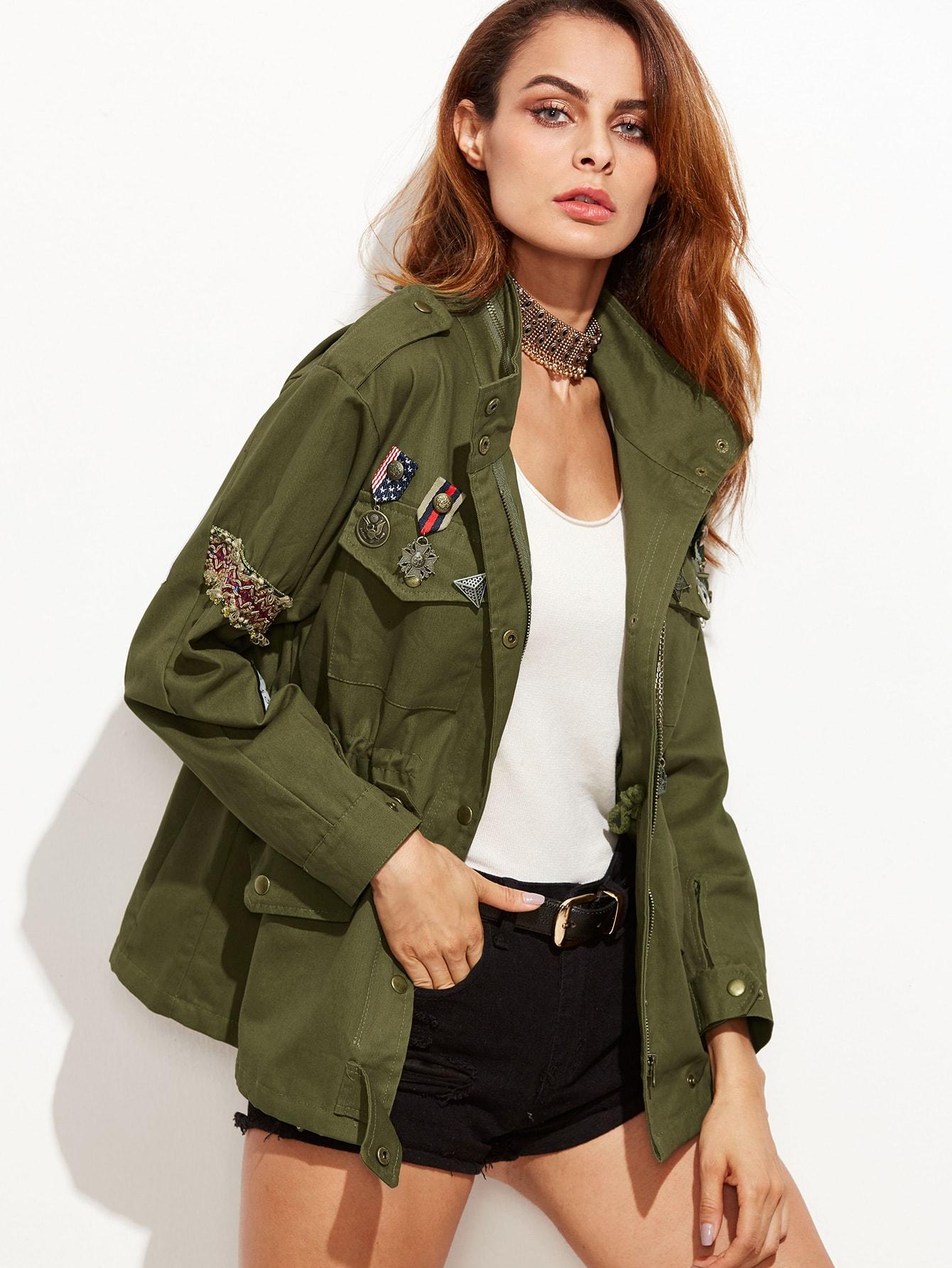 Зеленый Значок Армии Украшенные Карманный Пальто