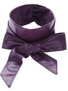 Purple Faux Leather Bow Wrap Wide Belt