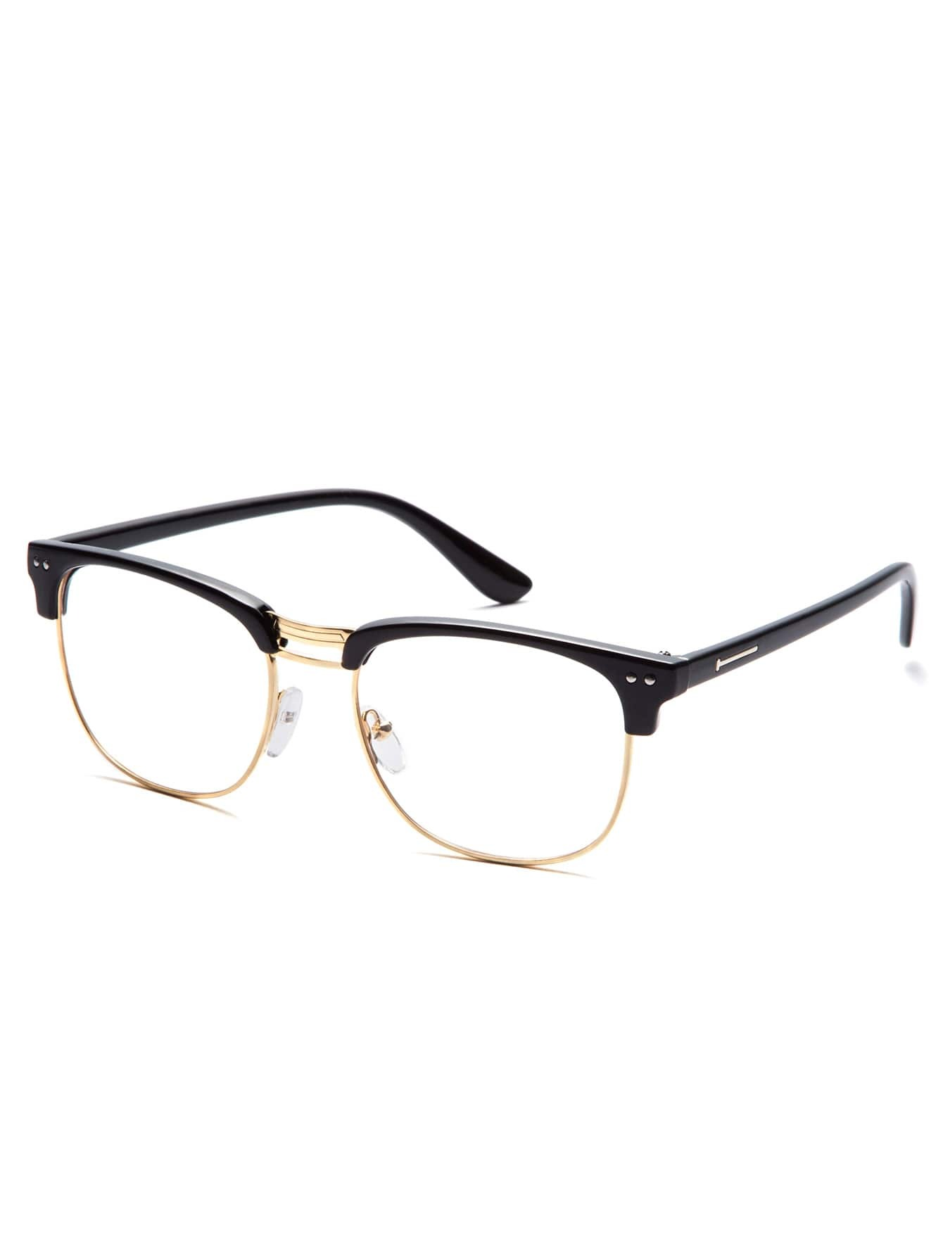 Black Frame Accessory Glasses : Black Open Frame Gold Trim Glasses