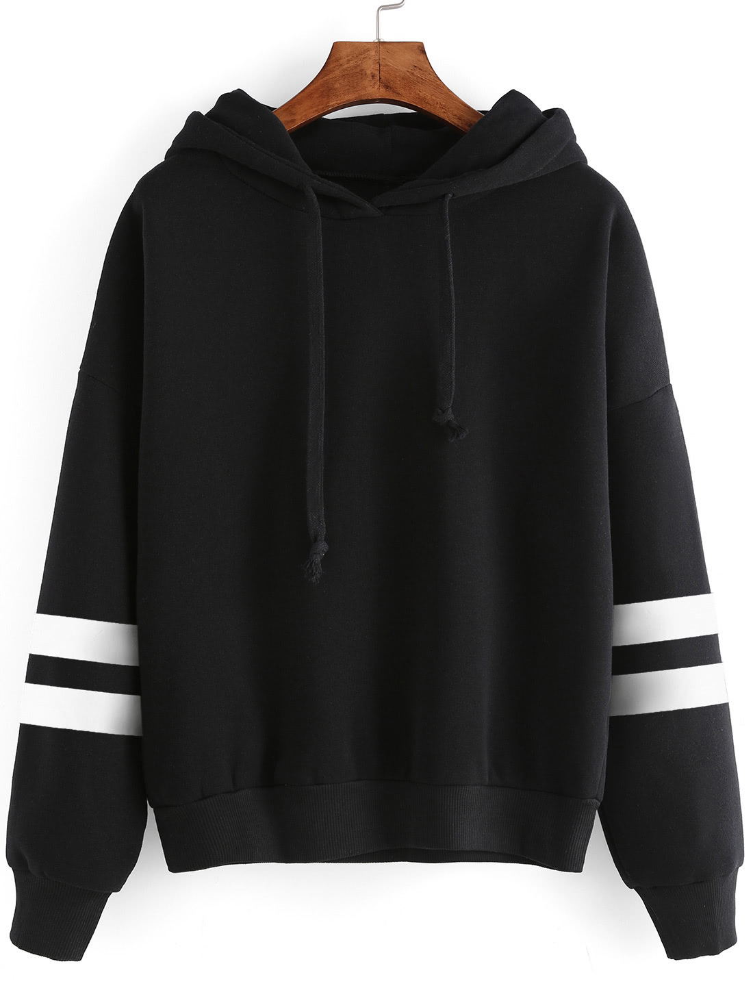 Black Drop Shoulder Varsity Striped Hooded Sweatshirt