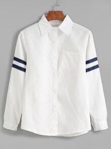 Blusa ribete de rayas manga larga con bolsillo - blanco