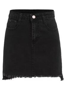 Black Raw Hem Denim Skirt