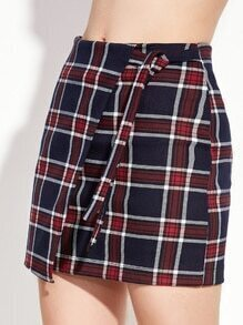Plaid Tie Front Asymmetrical Skirt With Zipper