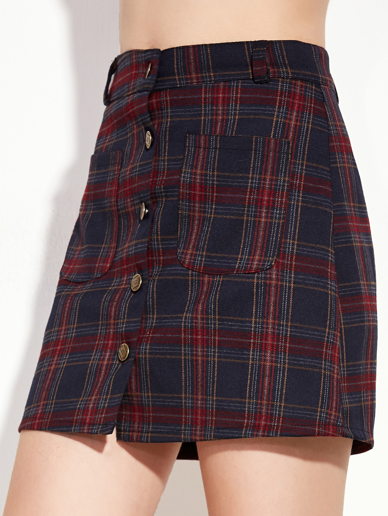 Plaid Button Front A Line Skirt With Pocketfor Women Romwe