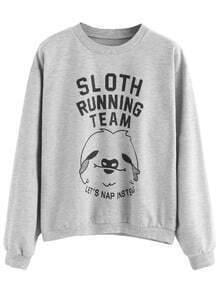 Light Grey Cartoon Letter Print Sweatshirt