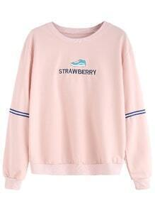 Pink Embroidered Sweatshirt With Sleeve Tape Detail