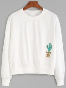 Beige Drop Shoulder Cactus Embroidery Sweatshirt