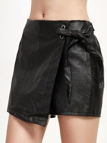 Buy Black Tie Front Warp PU Shorts