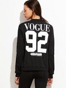 Black Varsity Print Zipper Front Sports Jacket