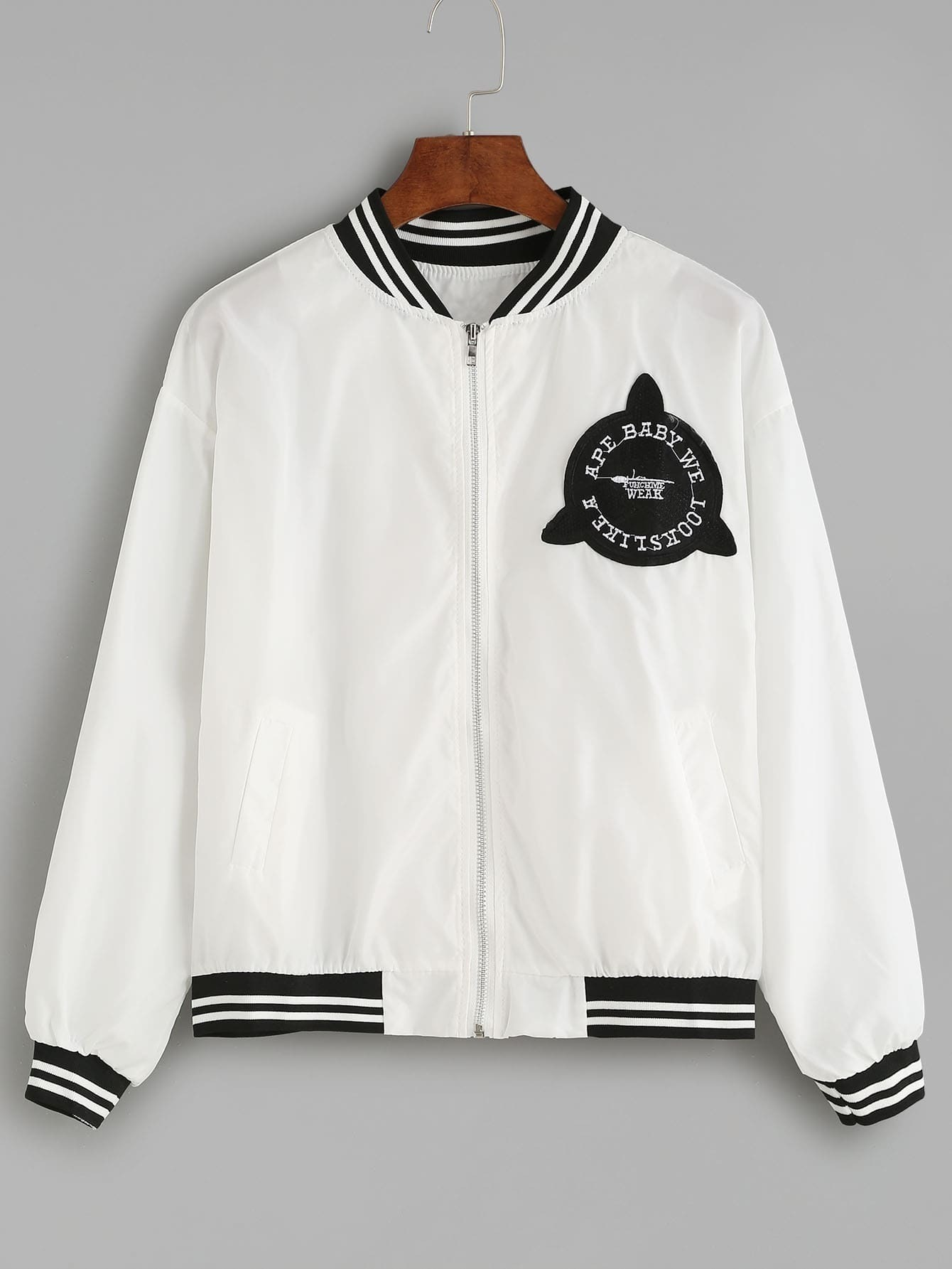 White Striped Trim Patch Embroidered Back Jacket