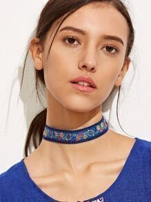 Blue Floral Ribbon Choker Necklace