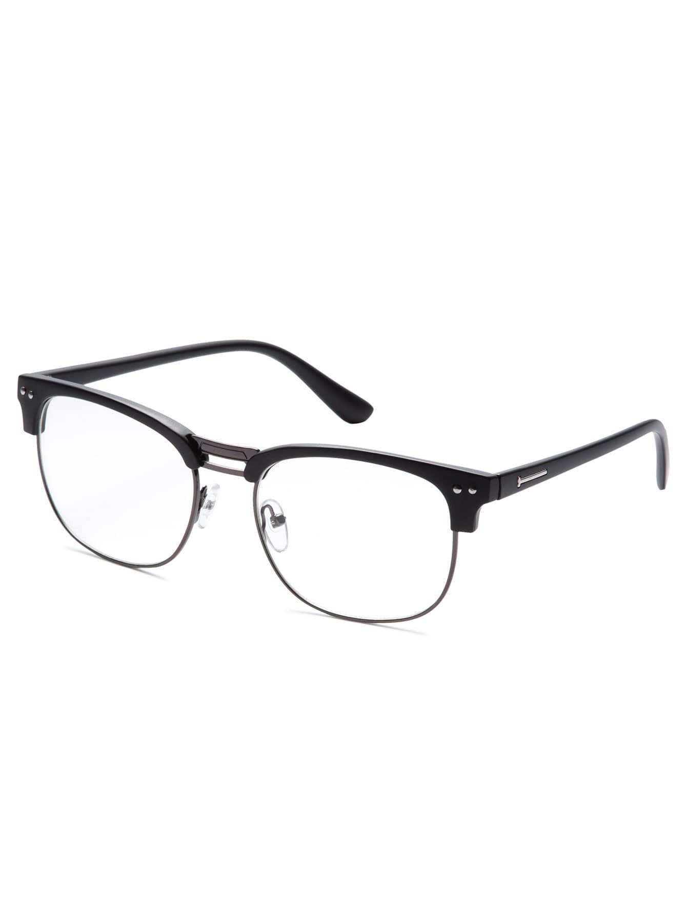 Black Open Frame Dull Polish Glasses