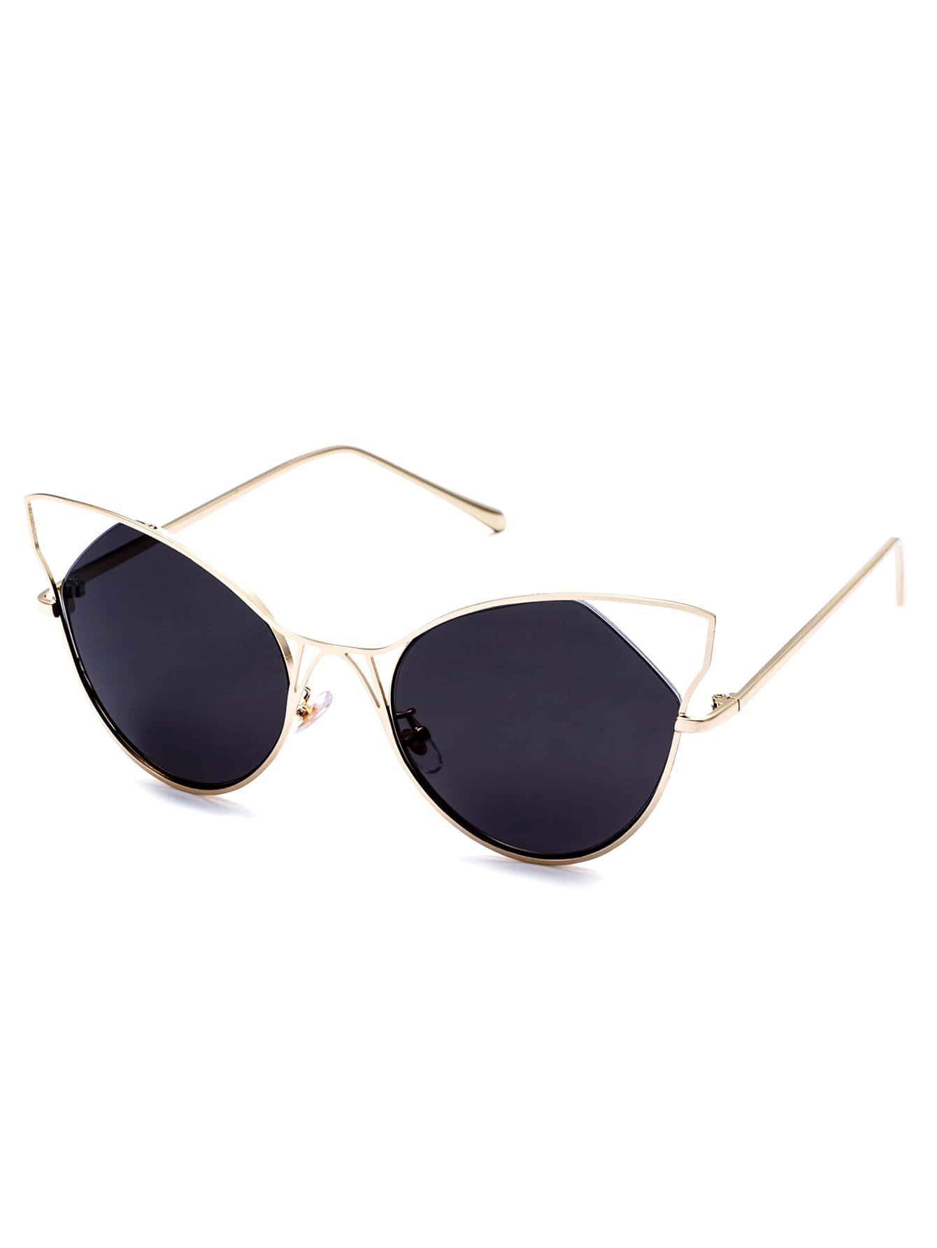 Gold Frame Cat Eye Sunglasses : Gold Frame Black Cat Eye Sunglasses