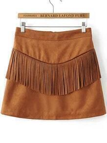 Brown Fringe Detail Zipper Back Suede Skirt